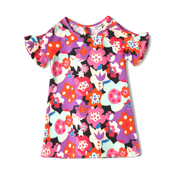 Pink & Purple Floral Baby Cold Shoulder Organic Cotton Dress