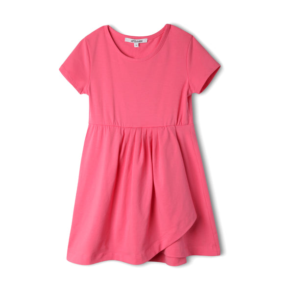 pink dress scoop neck organic stretch cotton fabric gathered elastic waist asymmetrical hem