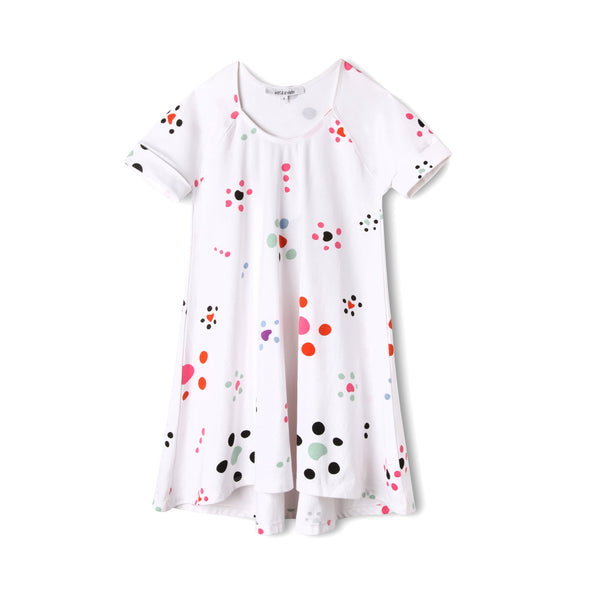 Starfish Polka Dot Girls Organic Cotton Swing Dress,Dresses,Art & Eden-The Little Clothing Company