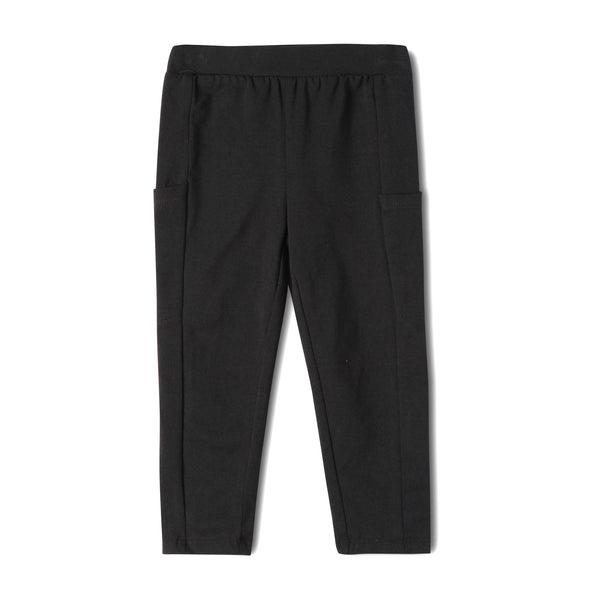 baby girl black cropped legging pockets