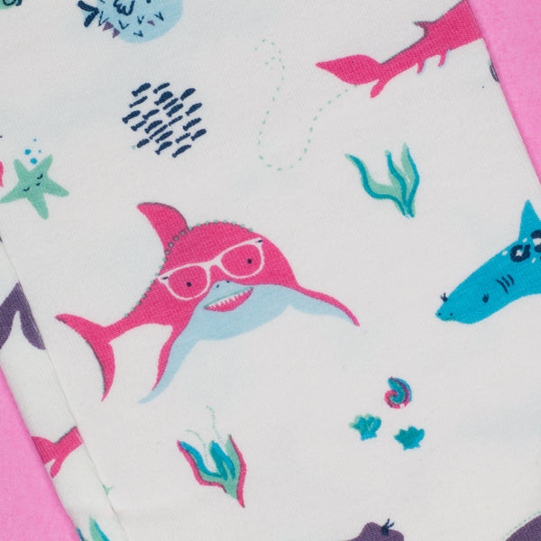 Smarty Girl Shark Baby & Girl Organic Cotton Leggings,Bottoms,Smarty Girl-The Little Clothing Company