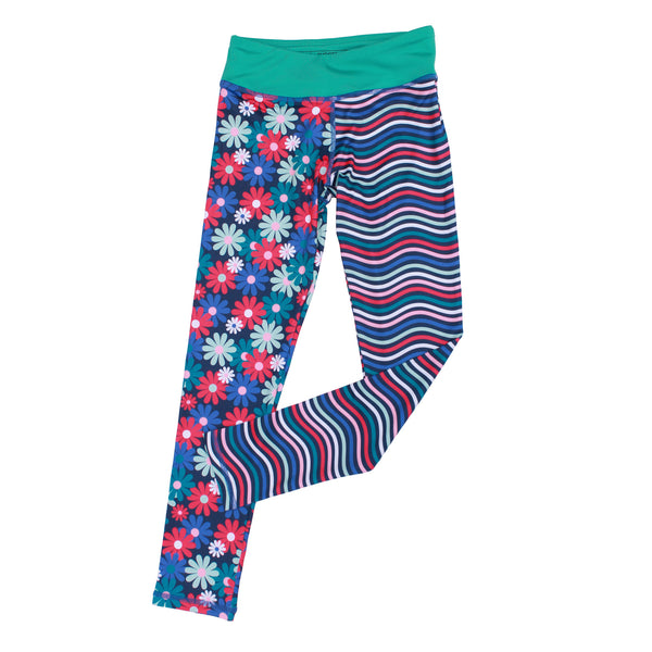 Admire Girl Blue Flower and Stripe Splits Leggings,Bottoms,Chooze-The Little Clothing Company