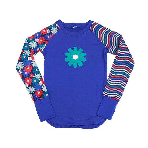 Admire Girl Blue Flower and Stripe Long Sleeve Tee,Shirts,Chooze-The Little Clothing Company