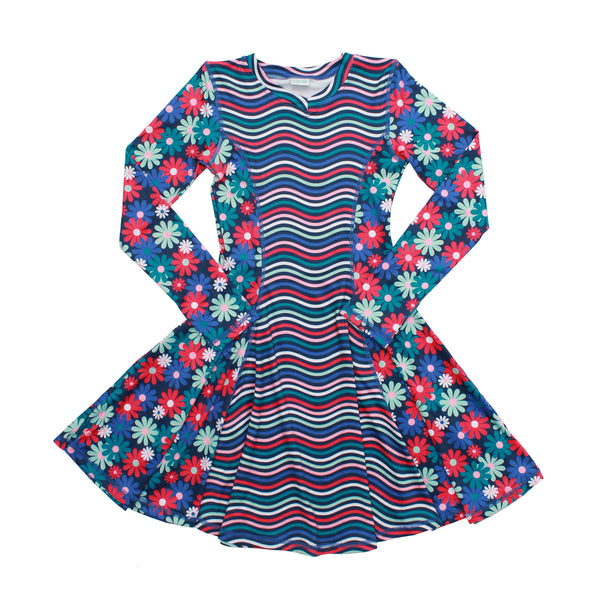 Admire Girl Blue Flower Long Sleeve Dress,Dresses,Chooze-The Little Clothing Company