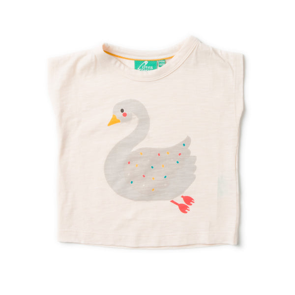 Swan Princess Girl Short Sleeve Organic Cotton Graphic Tee,Shirts,Little Green Radicals-The Little Clothing Company