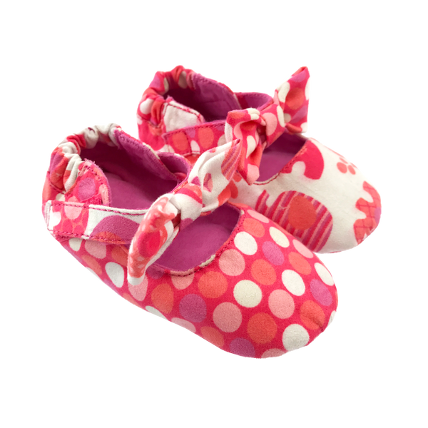 Coral Polka Dot & Elephant Bow Baby Booties,Shoes,Chooze-The Little Clothing Company