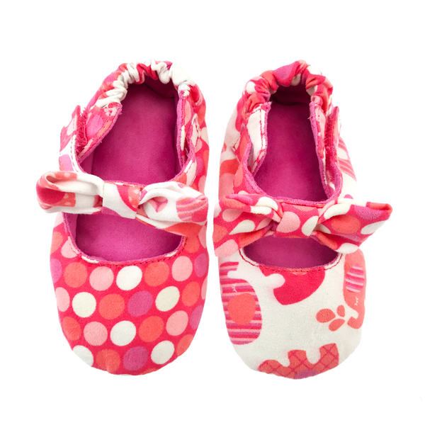 Coral Polka Dot & Elephant Bow Baby Booties
