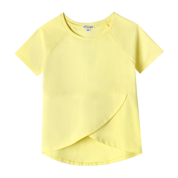 Sunshine Yellow Cross Front Organic Cotton Tee,Shirts,Art & Eden-The Little Clothing Company