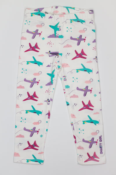Smarty Girl Airplane Baby and Girl Organic Cotton Leggings,Bottoms,Smarty Girl-The Little Clothing Company
