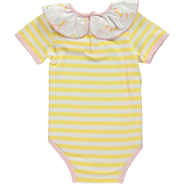 Baby Girl Yellow Stripe Carousel Ruffle Neck Onesie,Romper,Rockin' Baby-The Little Clothing Company