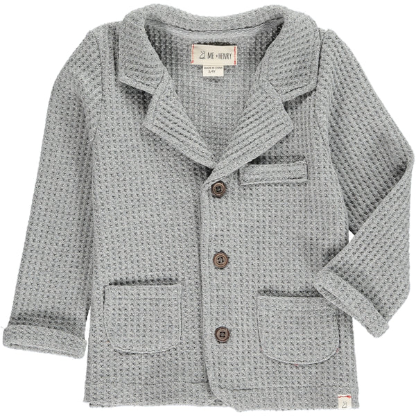 Baby and Boy's Gray Waffle Cardigan Sweater Jacket,Outerwear,Me and Henry-The Little Clothing Company
