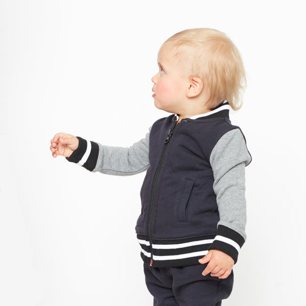 Augie Black and Gray Organic Cotton Bomber Jacket,Outerwear,Art & Eden-The Little Clothing Company