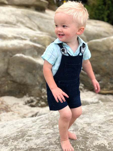 Baby and Kids Jersey Denim Shortie Overall,Bottoms,Me and Henry-The Little Clothing Company