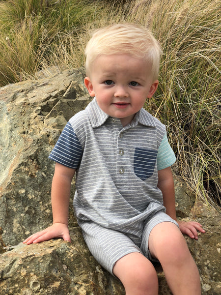 Baby Boy's Gray and Blue Stripe Polo Romper,Romper,Me and Henry-The Little Clothing Company