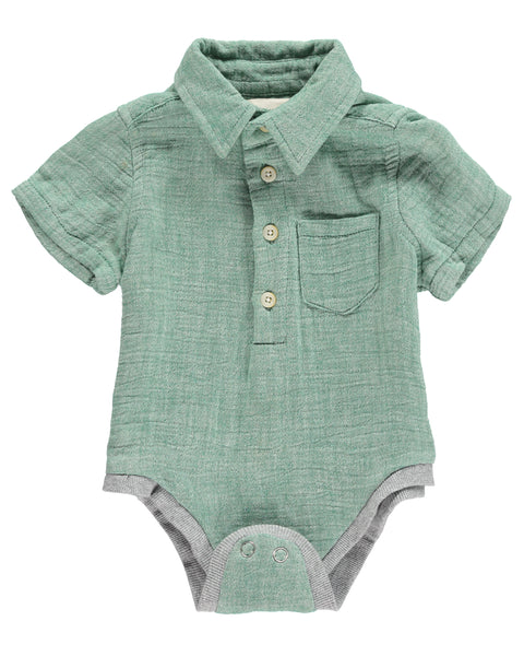 Baby Boy's Green Gauzy Button Up Onesie,Onesie,Me and Henry-The Little Clothing Company
