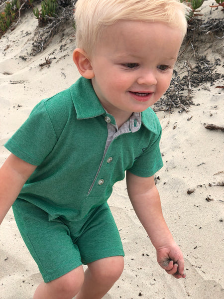 Baby Boy's Green Pique Polo Romper,Romper,Me and Henry-The Little Clothing Company