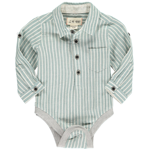 Baby Boy Woven Green Stripe Collared Onesie