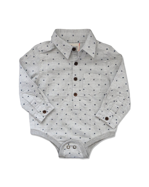 Baby Boy Gray Dot Collared Onesie - 3/6 months,Onesie,Me and Henry-The Little Clothing Company