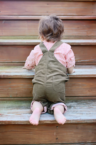 Baby and Boy Brown Corduroy Overalls