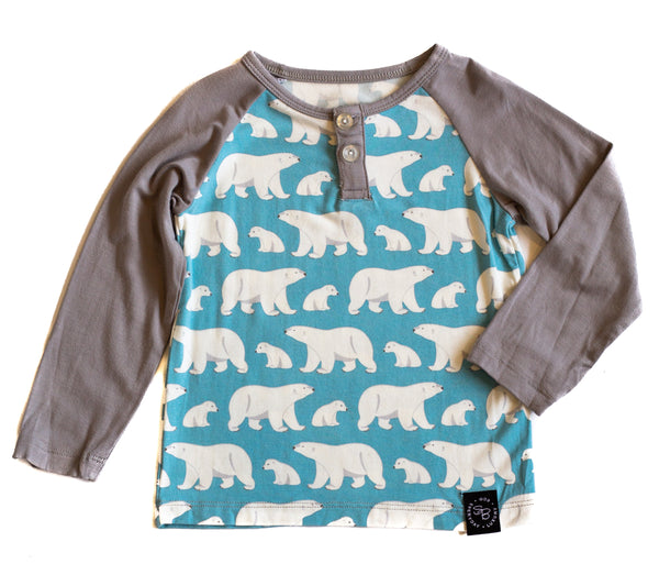 Bamboo Baby & Boy Polar Bear Henley,Shirts,Sweet Bamboo-The Little Clothing Company
