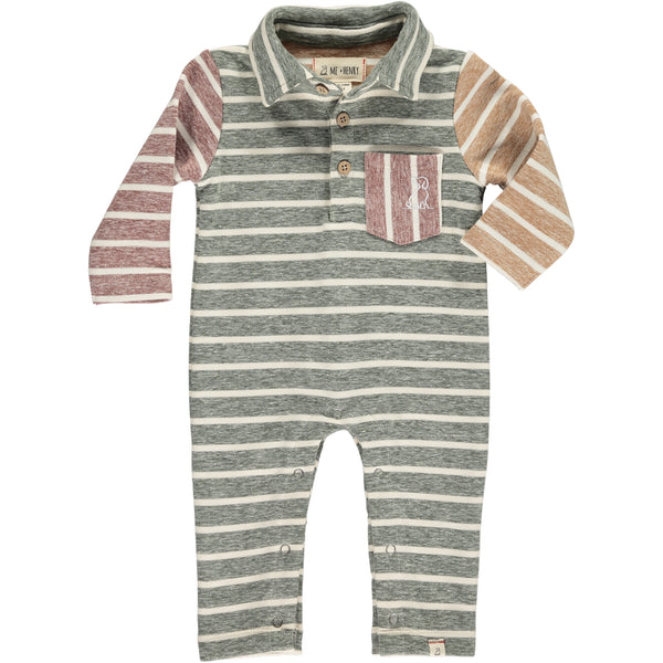 Baby Boy Long Sleeve Green Multi Stripe Polo Romper,Romper,Me and Henry-The Little Clothing Company