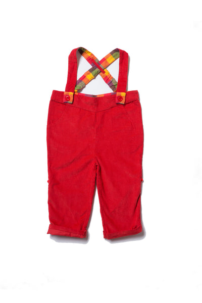 Baby Boy Red Corduroy Suspender Pants - 12/18 months,Bottoms,Little Green Radicals-The Little Clothing Company