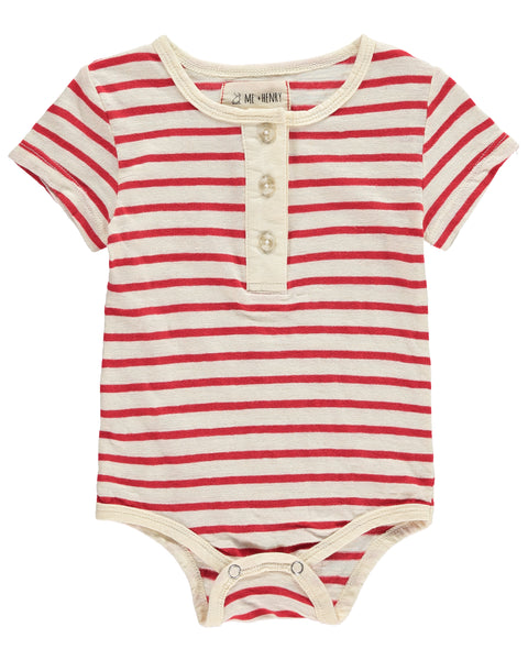 Baby Red Stripe Henley Short Sleeve Onesie,Onesie,Me and Henry-The Little Clothing Company
