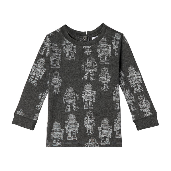 Baby Boy Robot Long Sleeve Organic Cotton Tee,Shirts,Art & Eden-The Little Clothing Company