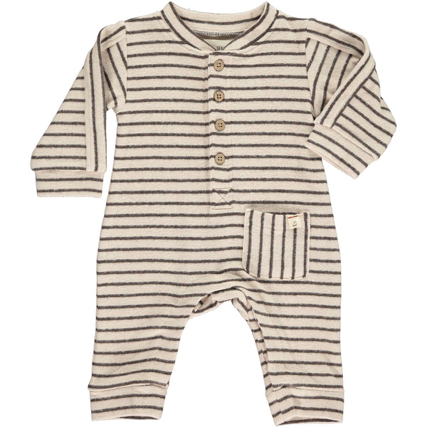 Baby Boy Burgundy Stripe Long Sleeve Pocket Romper