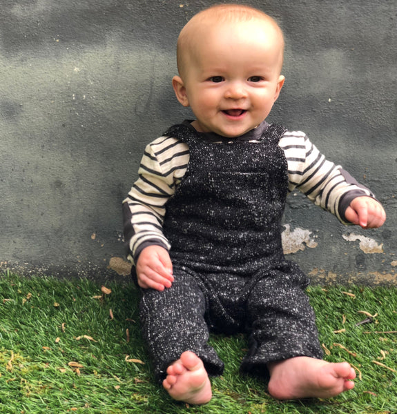 Baby Boy Black Speckled Knit Overall,Bottoms,Me and Henry-The Little Clothing Company