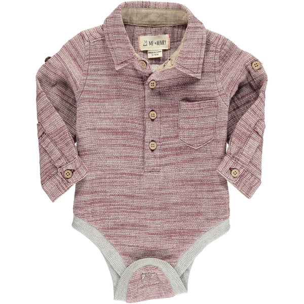 Baby Boy Burgundy Woven Collared Onesie,Onesie,Me and Henry-The Little Clothing Company