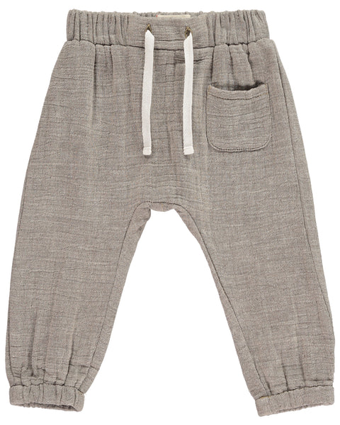 Baby and Boy's Beige Gauzy Linen Cotton Pants,Bottoms,Me and Henry-The Little Clothing Company