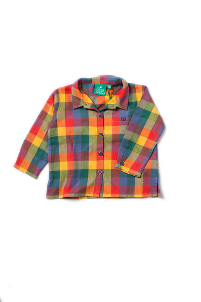 child plaid flannel button up collared shirt yellow red blue green