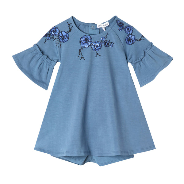 Baby and Girl Blue Floral Applique Bell Sleeve Dress,Dresses,Art & Eden-The Little Clothing Company