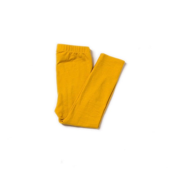 girl and baby gold mustard yellow leggings organic cotton folded