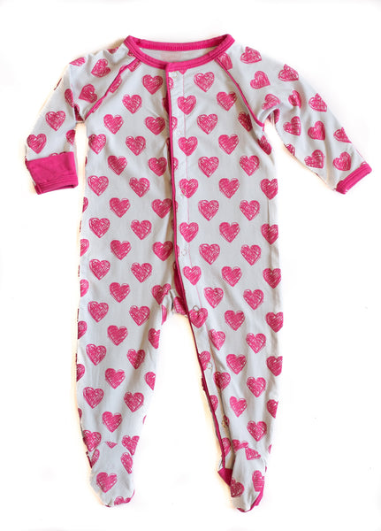 Bamboo Baby Hearts Footed Sleeper - 0/3 months,Sleepers,Sweet Bamboo-The Little Clothing Company