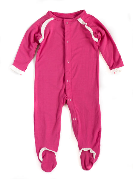 Bamboo Baby Girl Raspberry Ruffle Footed Sleeper,Sleepers,Sweet Bamboo-The Little Clothing Company