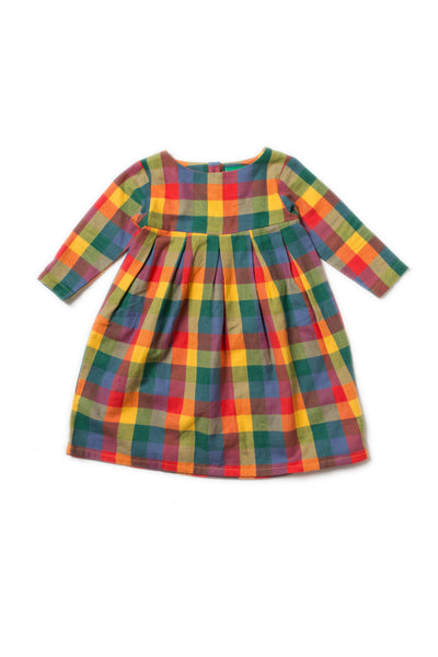 girl and baby plaid flannel dress long sleeve gold red green blue