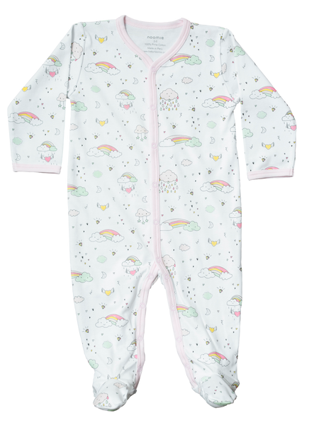 Baby Girl Rainbow Zipper Footed Sleeper,Sleepers,Baby Noomie-The Little Clothing Company