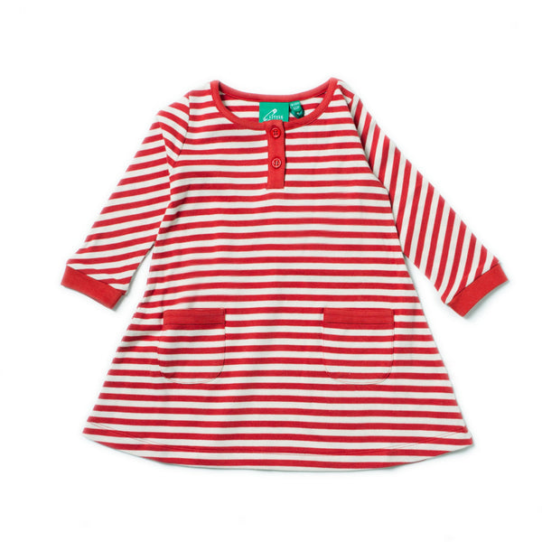 Baby Girl Red Stripe Organic Cotton Pocket Dress - 12/18 months,Dresses,Little Green Radicals-The Little Clothing Company