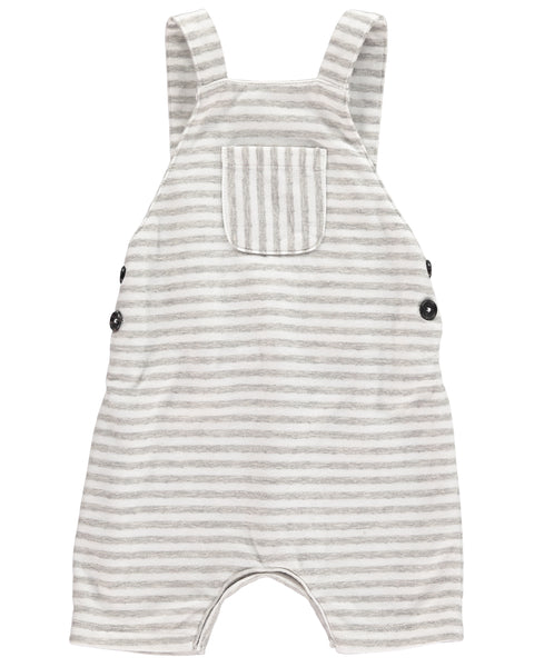 Baby Gray Striped Shortie Overall,Bottoms,Me and Henry-The Little Clothing Company