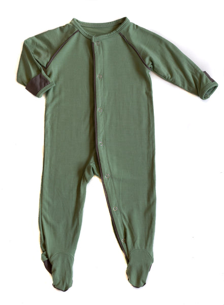 Bamboo Baby Hunter Green Footed Sleeper,Sleepers,Sweet Bamboo-The Little Clothing Company