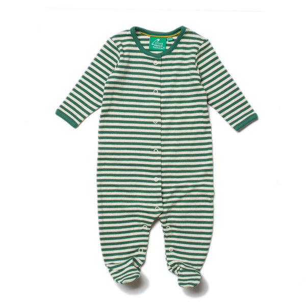 baby green stripe footed sleeper
