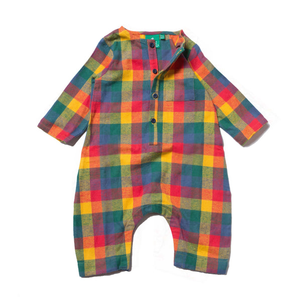 baby boy girl plaid flannel jumper playsuit yellow red green blue