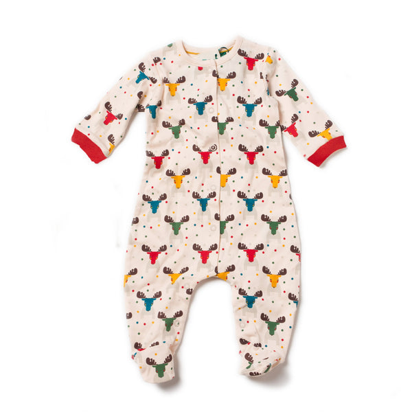 Baby Rainbow Moose Organic Cotton Footed Sleeper,Sleepers,Little Green Radicals-The Little Clothing Company