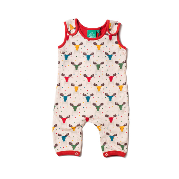 Baby Rainbow Moose Organic Cotton Dungaree Overalls,Romper,Little Green Radicals-The Little Clothing Company