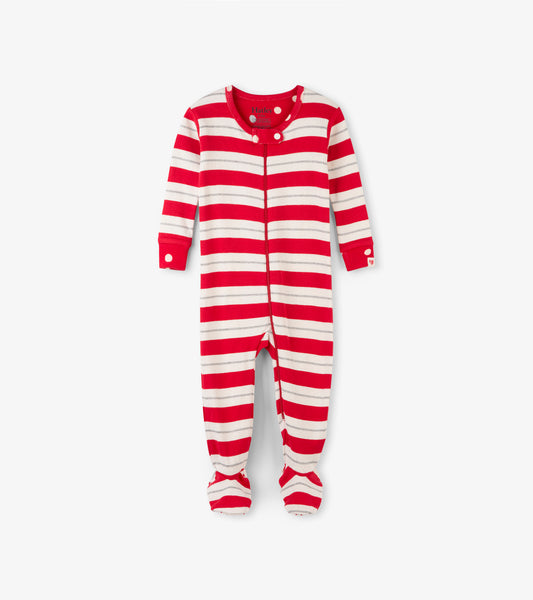 Holiday Red and Silver Stripe Baby Footed Sleeper