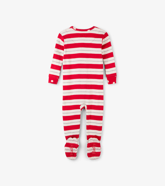 Holiday Red and Silver Stripe Baby Footed Sleeper,Sleepers,Hatley-The Little Clothing Company