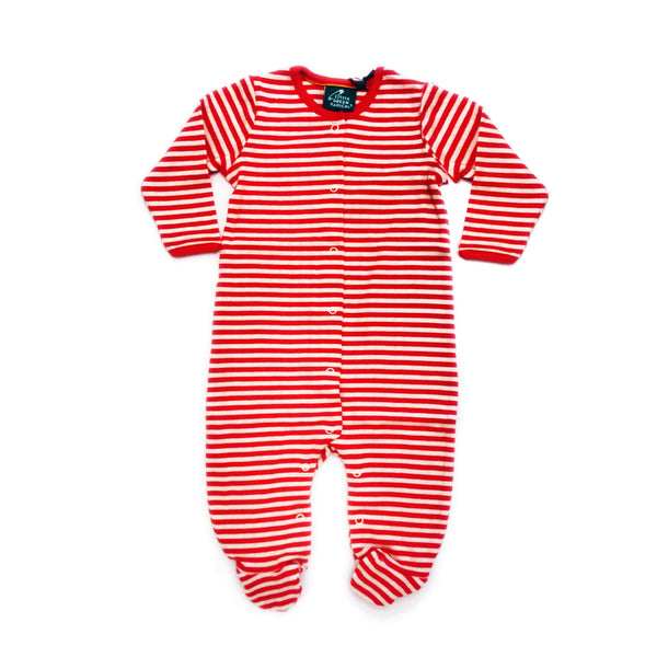 Baby Pointelle Red Stripe Organic Cotton Footed Sleeper - 9/12 months,Sleepers,Little Green Radicals-The Little Clothing Company