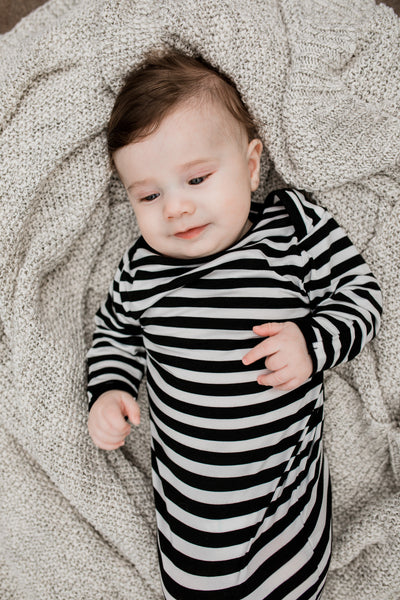 Bamboo Baby Stripe Black & White Knotted Gown